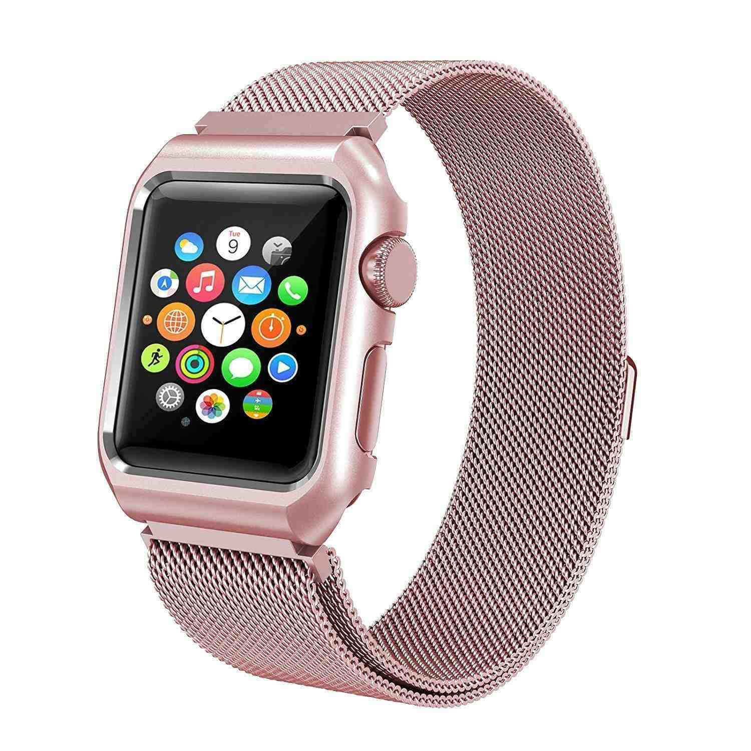 Rose Gold Milanese Apple Watch Band With Case Rykyr Luna